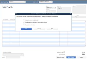 Create Invoice from Sales order
