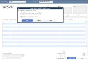 Create Invoice Select sales order for selected item