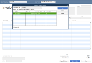 Create Invoice Select sales order
