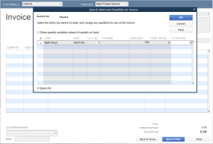 Create Invoice selected item change Hours To Invoice