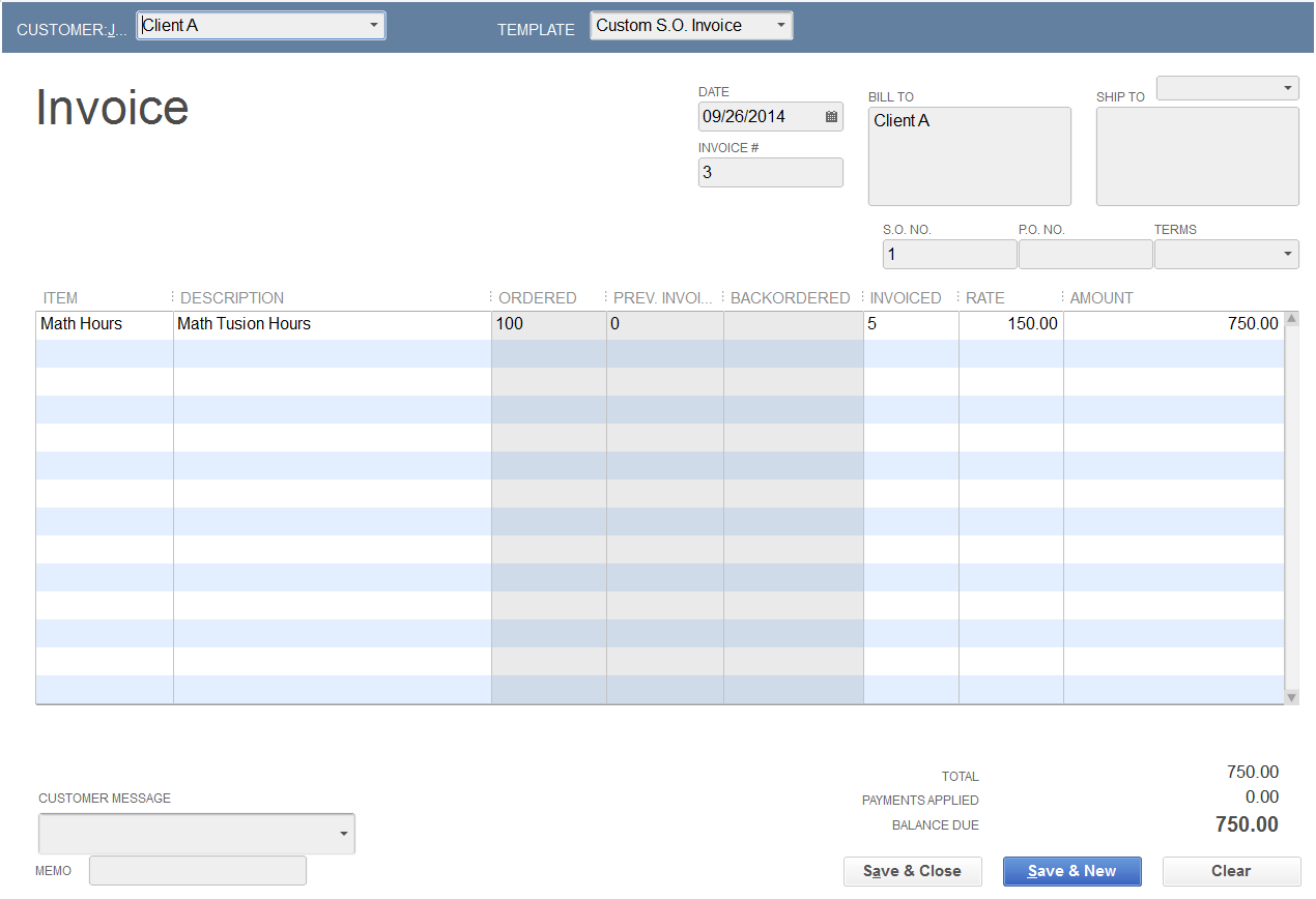 how to create an invoice in quickbooks 2014