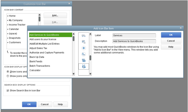 Modify the icon bar (QB2015)